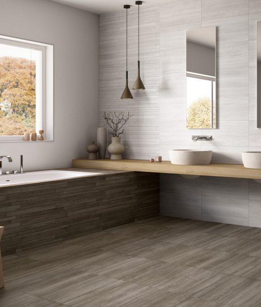 Wall – Vein B 36 White. Floor – Vein B 60 Dove Grey