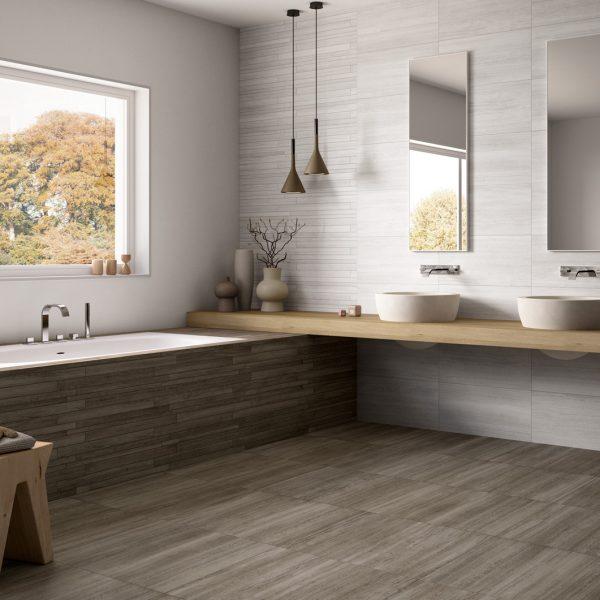 Wall - Vein B 36 White. Floor - Vein B 60 Dove Grey