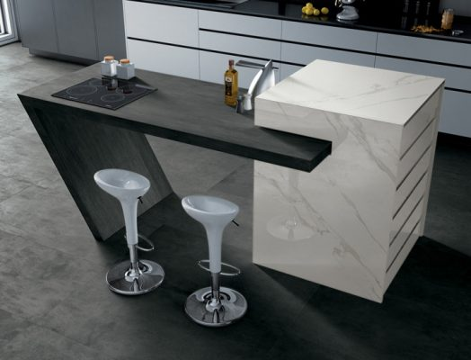 Floors - Skyline Fumo, Counter Top - Skyline Antracite, Middle Block - I Marmi
