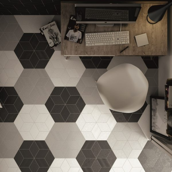 Rhombus White, Light Grey and Black Malford Tiles Singapore