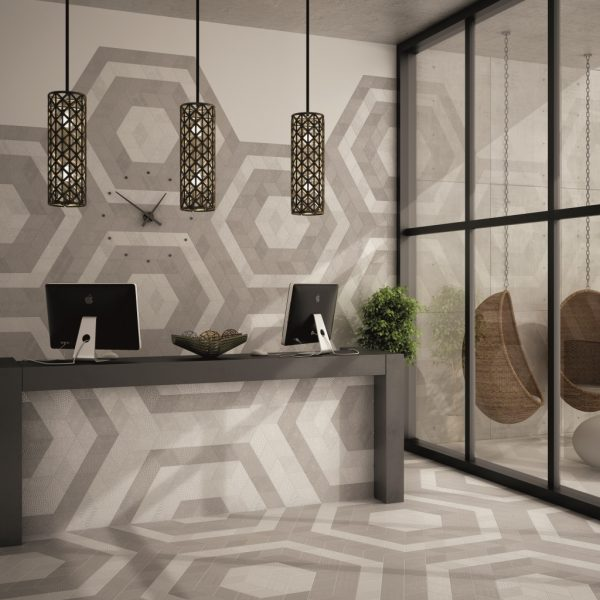 Rhombus White and Light Grey Malford Tiles Singapore