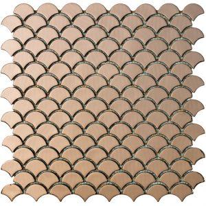 podium copper fan shaped metallic glass mosaics