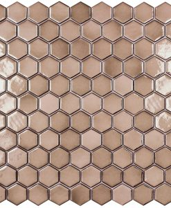 podium copper hexagonal metallic glass mosaics