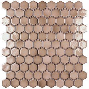 podium copper hexagonal metallic glass mosaics