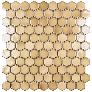 podium gold hexagonal metallic glass mosaics