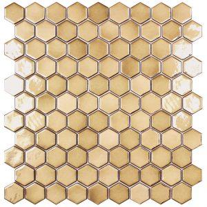podium gold hexagonal metallic glass mosaics