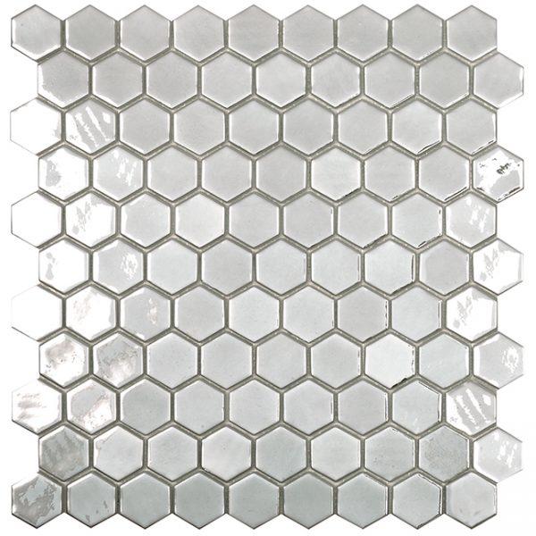 podium silver hexagonal metallic glass mosaics