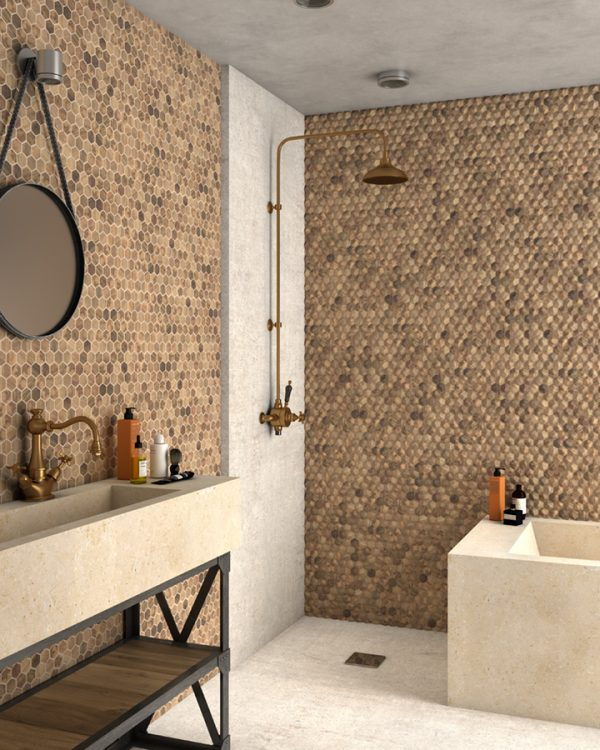 wood royal light 3d hex mosaics