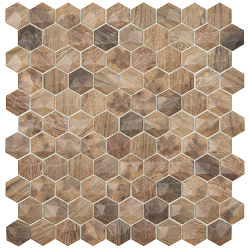 wood royal light 3d hex mosaics by malford ceramics